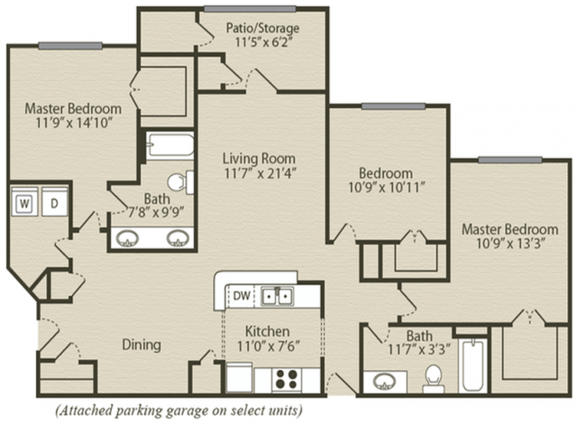 The Magnolia Floor Plan   3 Bedroom with 2 Bath   1384 Square Feet   Retreat at River Park   Apartment Homes