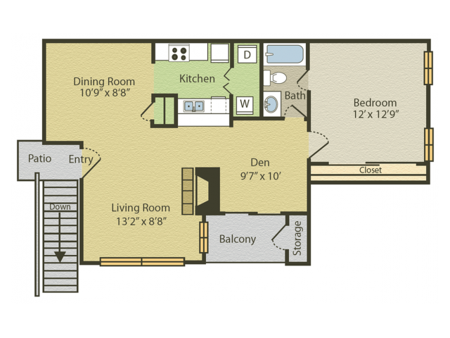 A2 Floor Plan | 1 Bedroom with 1 Bath | 783 Square Feet | Spring Pointe | Apartment Homes