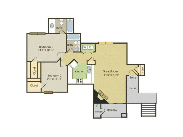 B2 Floor Plan | 2 Bedroom with 2 Bath | 961 Square Feet | Spring Pointe | Apartment Homes