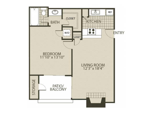 A1 Floor Plan | 1 Bedroom with 1 Bath | 600 Square Feet | The Oaks of North Dallas | Apartment Homes