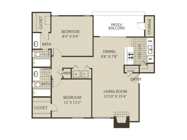 B2 Floor Plan | 2 Bedroom with 2 Bath | 1000 Square Feet | The Oaks of North Dallas | Apartment Homes