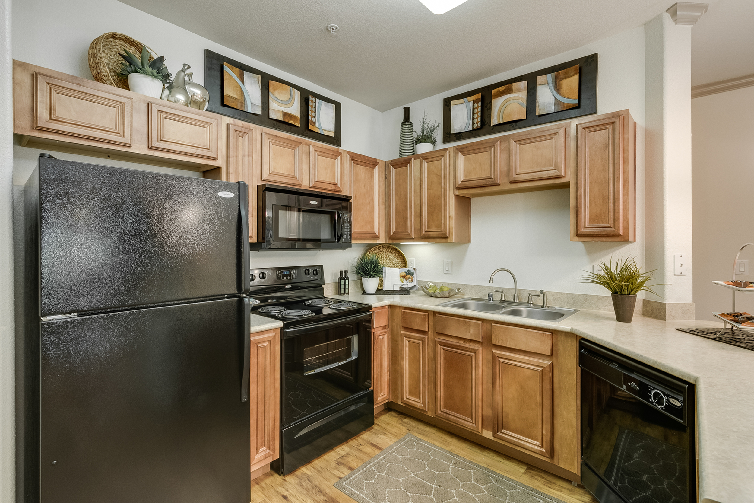 View of Kitchen, Showing Gas Appliances, Countertops, Cabinetry, Double Sink, and Plank Flooring at Retreat at Stafford Apartments