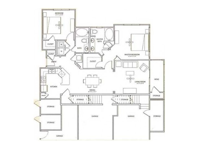Lichfield Floor Plan | 2 Bedroom with 2 Bath | 1181 Square Feet | Retreat at Stafford | Apartment Homes