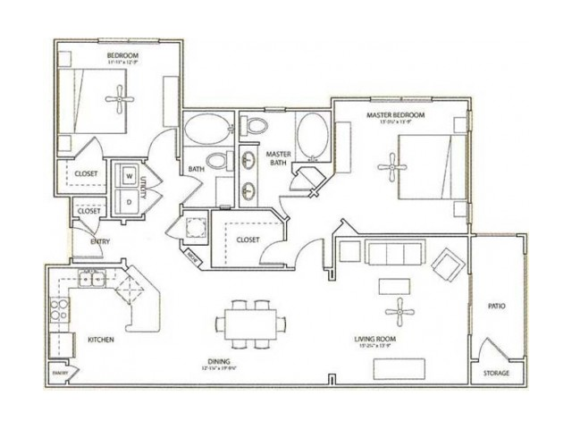 Victoria Floor Plan | 2 Bedroom with 2 Bath | 1235 Square Feet | Retreat at Stafford | Apartment Homes