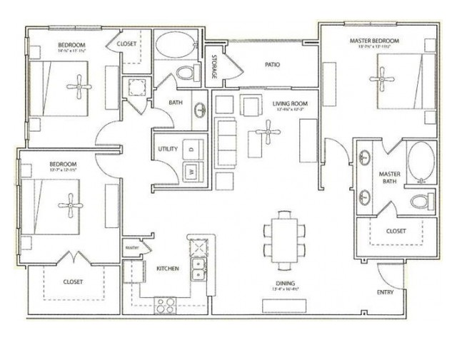 Weston Floor Plan | 3 Bedroom with 2 Bath | 1508 Square Feet | Retreat at Stafford | Apartment Homes