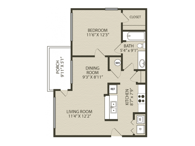 Drayton Floor Plan | 1 Bedroom with 1 Bath | 760 Square Feet | Plantations at Haywood | Apartment Homes