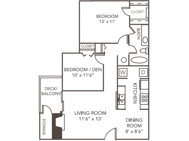 Renovated Cedar Floor Plan | 2 Bedroom with 1 Bath | 945 Square Feet | 1070 Main | Apartment Homes
