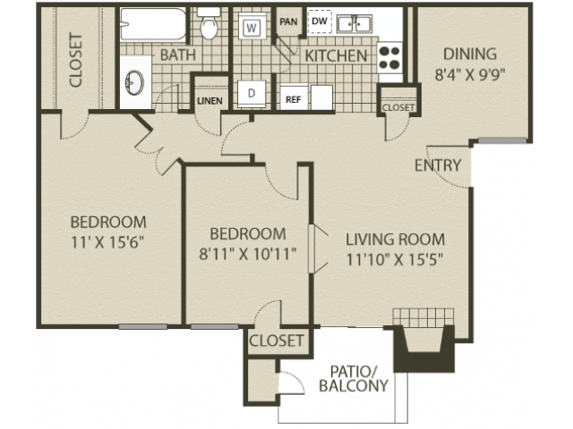 Renovated B1 Floor Plan | 2 Bedroom with 1 Bath | 874 Square Feet | 4804 Haverwood | Apartment Homes