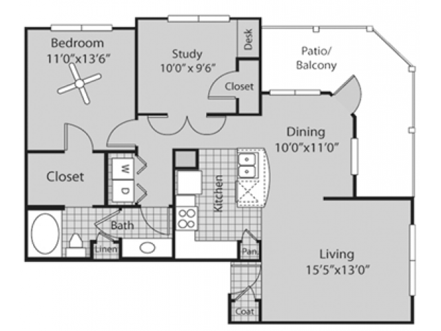 Renovated B1 Floor Plan | 2 Bedroom with 1 Bath | 971 Square Feet | Bluffs at Vista Ridge | Apartment Homes