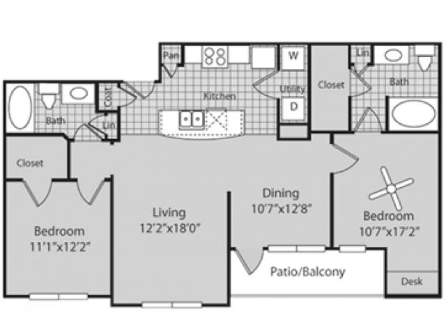 Renovated B2 Floor Plan | 2 Bedroom with 2 Bath | 1113 Square Feet | Bluffs at Vista Ridge | Apartment Homes