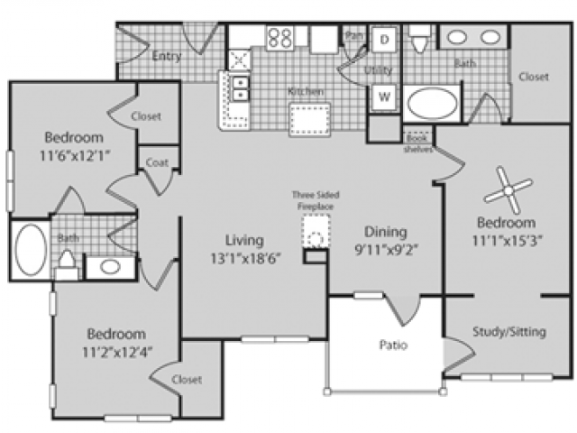 Renovated C1 Floor Plan | 3 Bedroom with 2 Bath | 1500 Square Feet | Bluffs at Vista Ridge | Apartment Homes