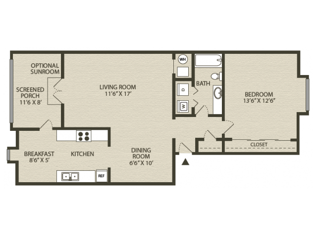 Renovated Hampton Floor Plan | 1 Bedroom with 1 Bath | 890 Square Feet | Plantations at Haywood | Apartment Homes