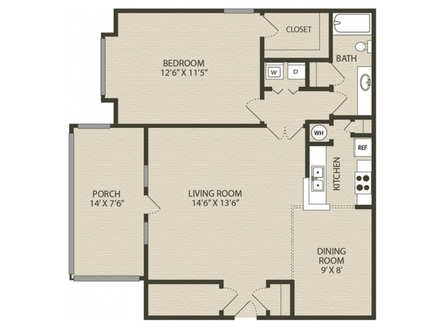 Renovated Middleton Floor Plan | 1 Bedroom with 1 Bath | 902 Square Feet | Plantations at Haywood | Apartment Homes