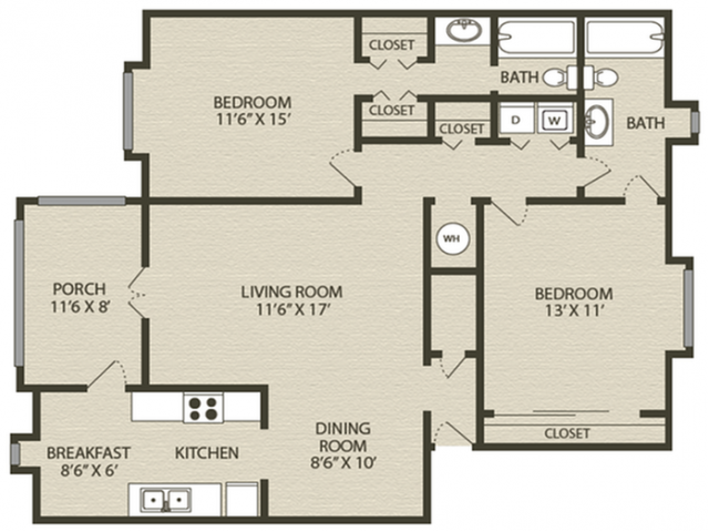 Renovated Magnolia Floor Plan | 2 Bedroom with 2 Bath | 1218 Square Feet | Plantations at Haywood | Apartment Homes