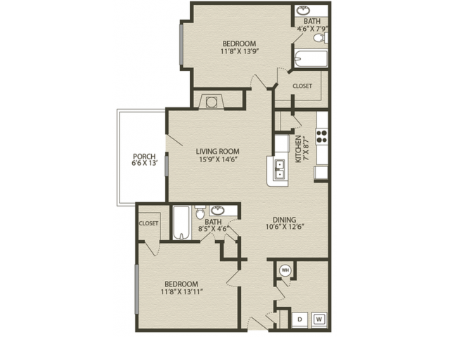 Renovated Mansfield I Floor Plan | 2 Bedroom with 2 Bath | 1229 Square Feet | Plantations at Haywood | Apartment Homes
