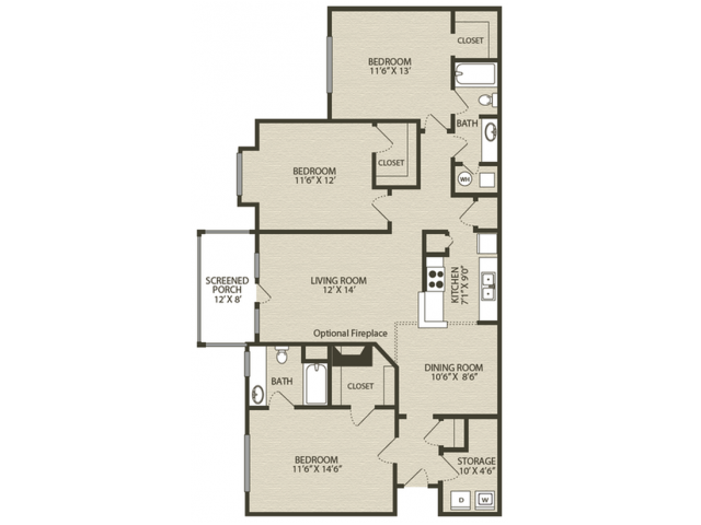 Renovated Redcliffe Floor Plan | 3 Bedroom with 2 Bath | 1489 Square Feet | Plantations at Haywood | Apartment Homes
