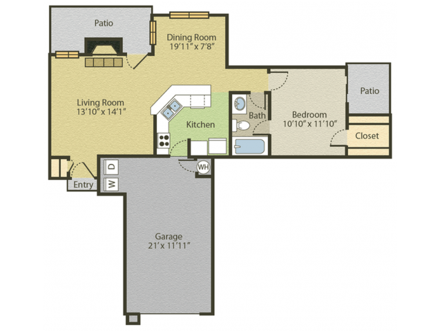 Renovated A1 Floor Plan | 1 Bedroom with 1 Bath | 703 Square Feet | Spring Pointe | Apartment Homes