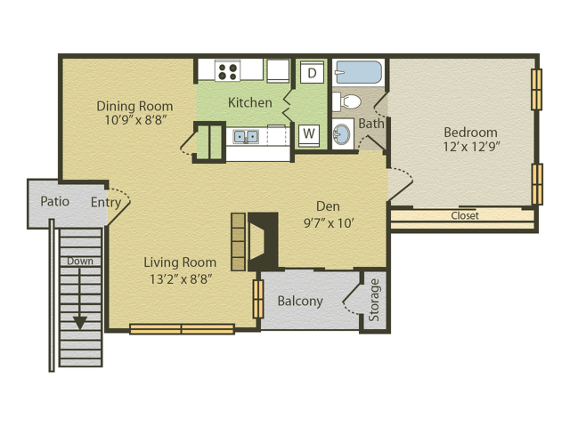Renovated A2 Floor Plan | 1 Bedroom with 1 Bath | 783 Square Feet | Spring Pointe | Apartment Homes