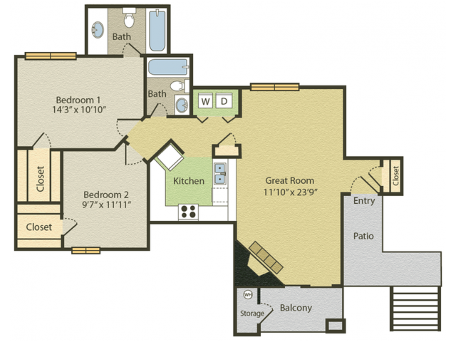 Renovated B2 Floor Plan | 2 Bedroom with 2 Bath | 961 Square Feet | Spring Pointe | Apartment Homes