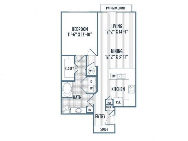 880-A11 Floor Plan | 1 Bedroom with 1 Bath | 877 Square Feet | 3800 Main | Apartment Homes