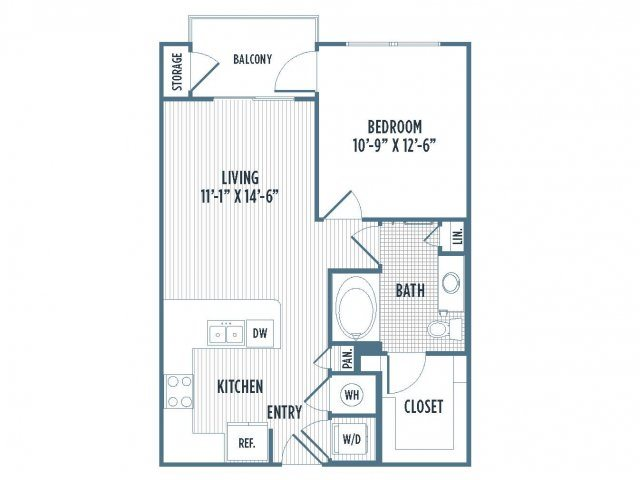 880-A7 Floor Plan | 1 Bedroom with 1 Bath | 678 Square Feet | 3800 Main | Apartment Homes
