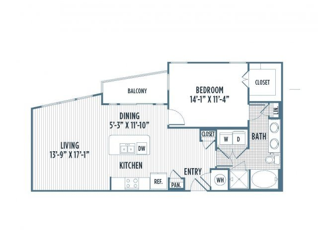 880-A8 Floor Plan | 1 Bedroom with 1 Bath | 898 Square Feet | 3800 Main | Apartment Homes