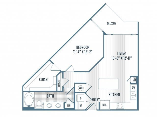 880-A9 Floor Plan | 1 Bedroom with 1 Bath | 802 Square Feet | 3800 Main | Apartment Homes