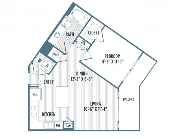 880-A10 Floor Plan | 1 Bedroom with 1 Bath | 700 Square Feet | 3800 Main | Apartment Homes