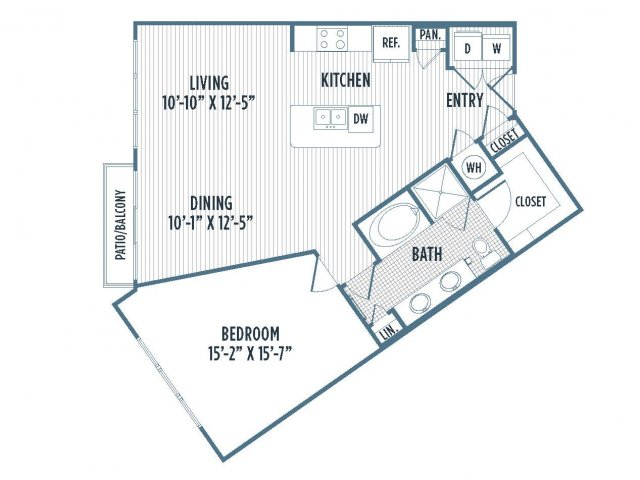 880-A6 Floor Plan | 1 Bedroom with 1 Bath | 945 Square Feet | 3800 Main | Apartment Homes