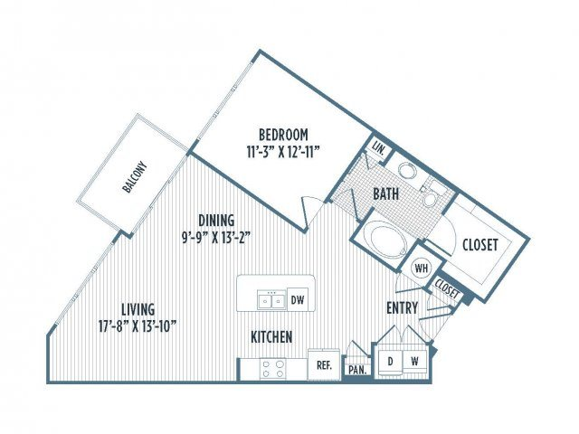 880-A5 Floor Plan | 1 Bedroom with 1 Bath | 881 Square Feet | 3800 Main | Apartment Homes