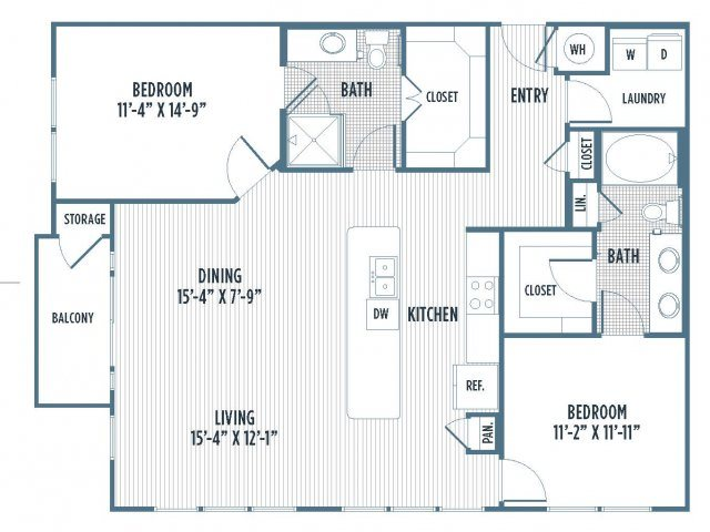 880-B5 Floor Plan | 2 Bedroom with 2 Bath | 1310 Square Feet | 3800 Main | Apartment Homes