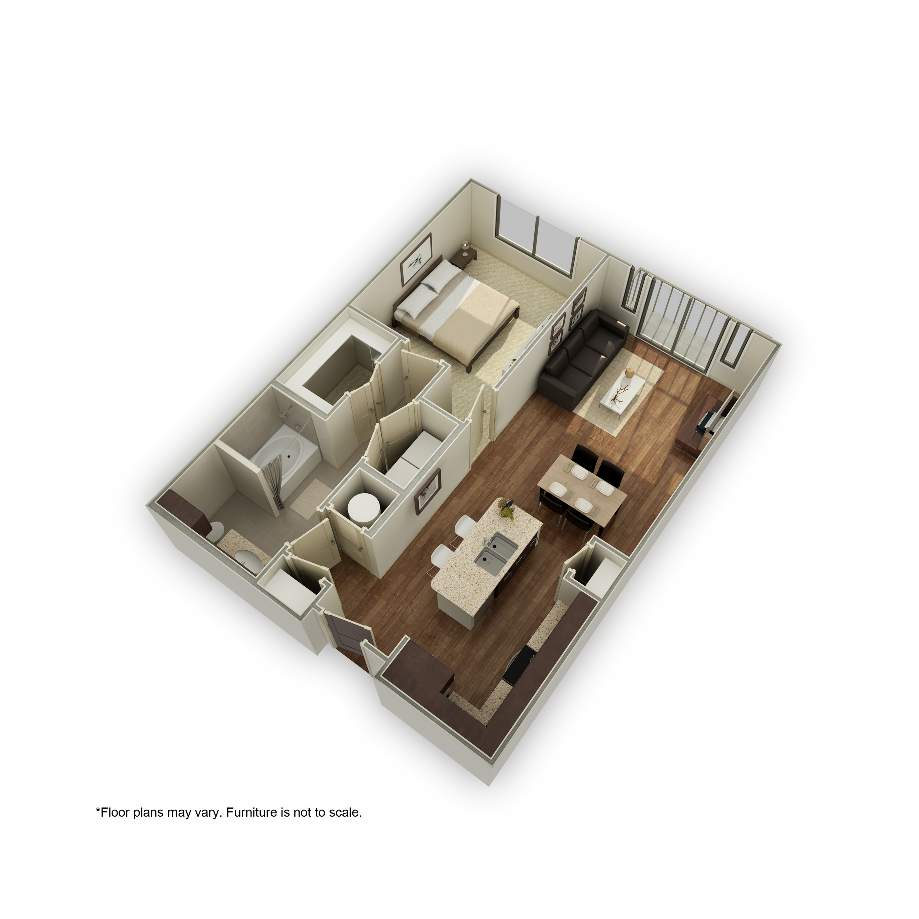 3800-A3 3D Floor Plan | 1 Bedroom with 1 Bath | 808 Square Feet | 3800 Main | Apartment Homes
