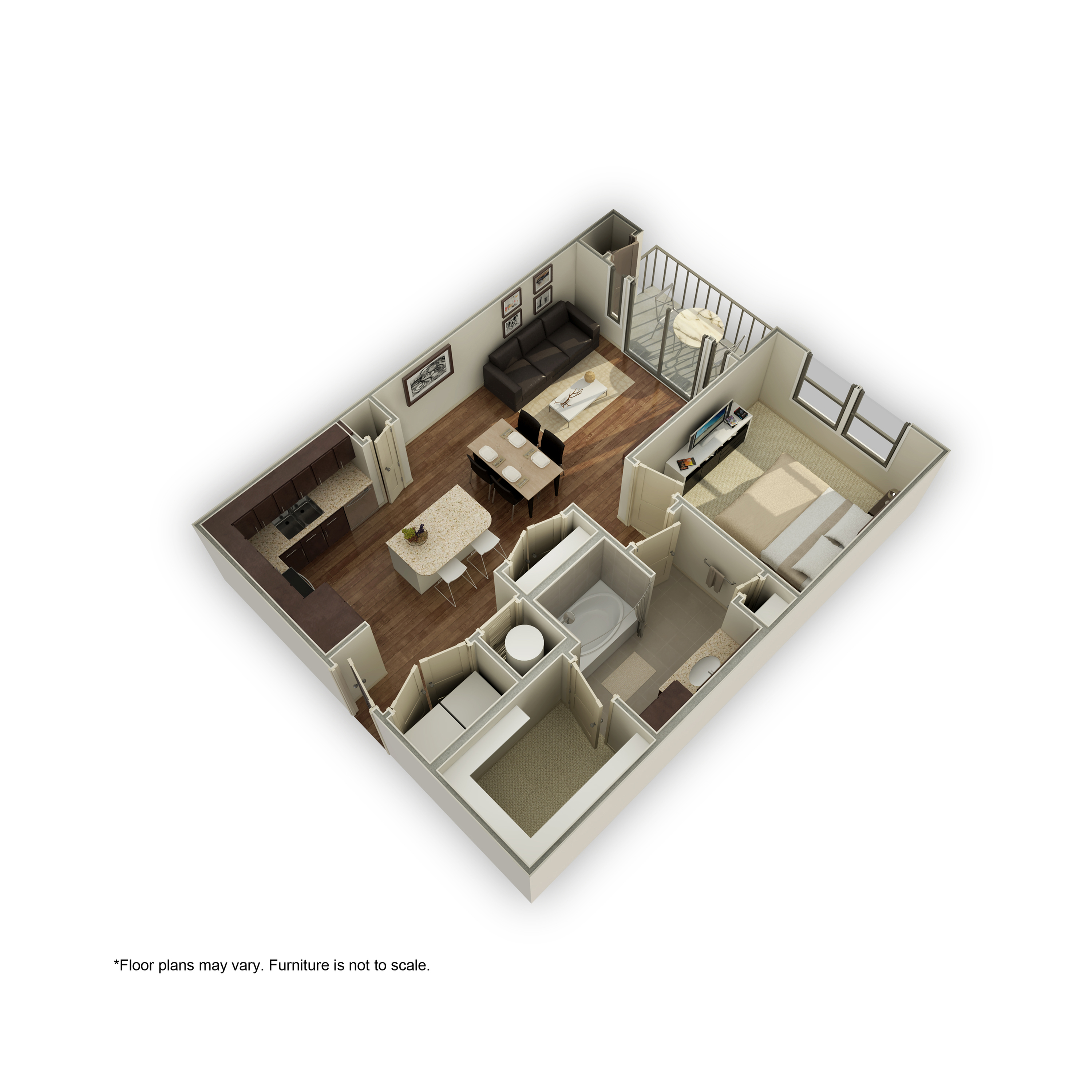 3800-A4 3D Floor Plan | 1 Bedroom with 1 Bath | 746 Square Feet | 3800 Main | Apartment Homes