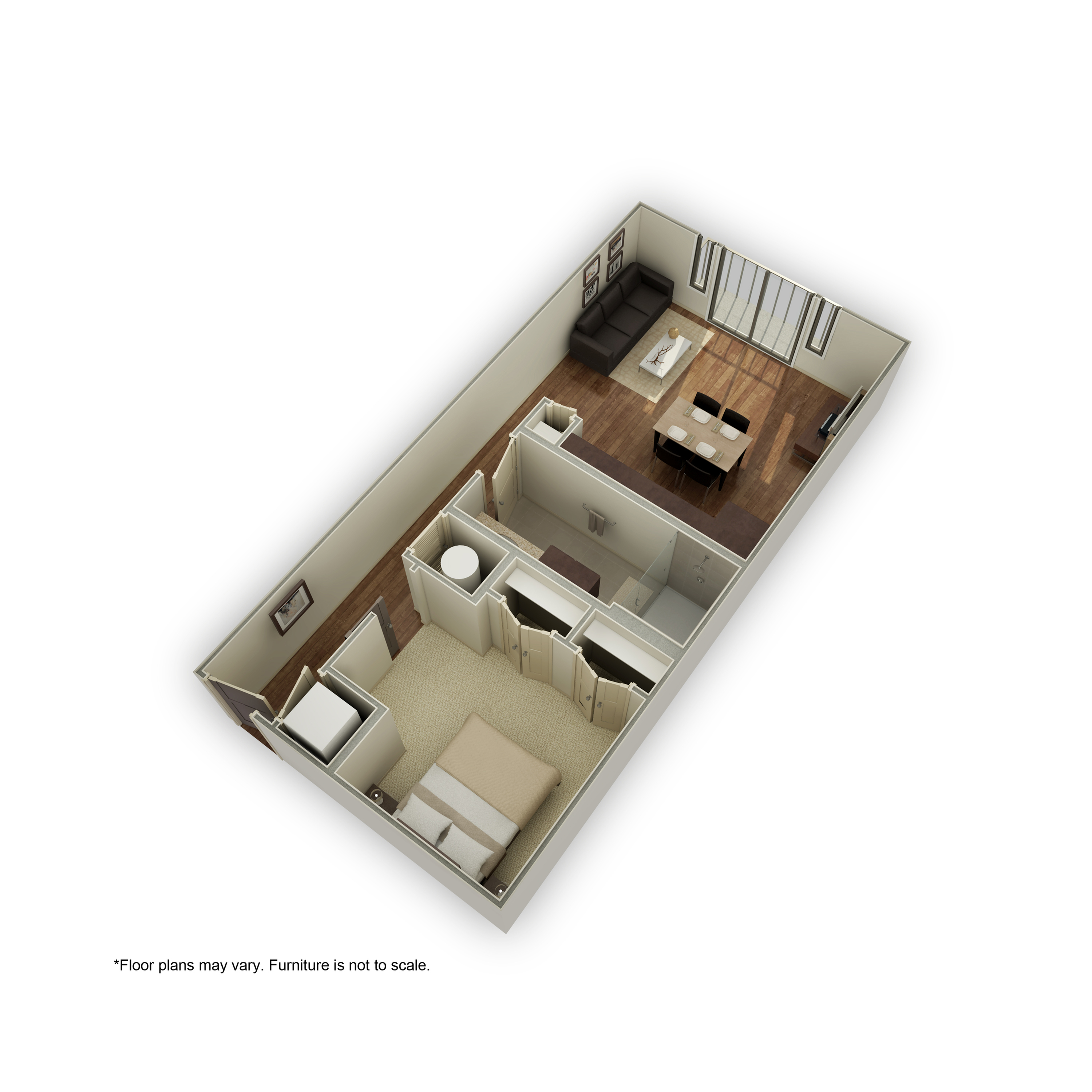 3800-A1A 3D Floor Plan | 1 Bedroom with 1 Bath | 649 Square Feet | 3800 Main | Apartment Homes
