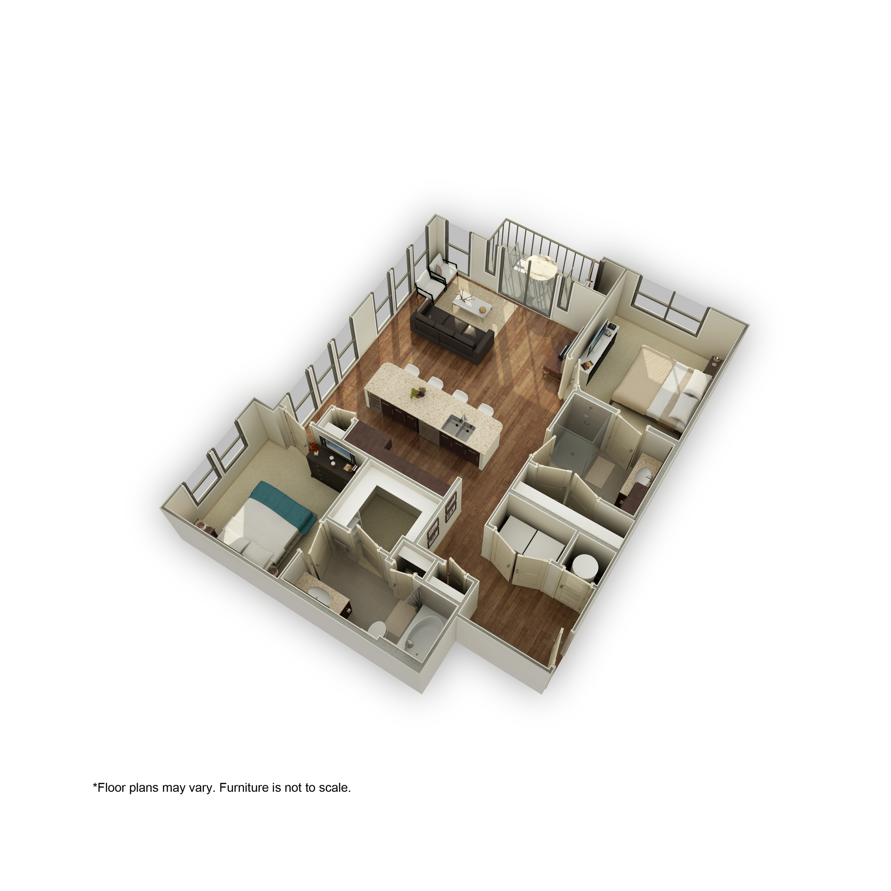 3800-B2A 3D Floor Plan | 2 Bedroom with 2 Bath | 1168 Square Feet | 3800 Main | Apartment Homes