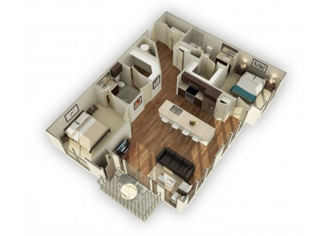 880-B2 3D Floor Plan | 2 Bedroom with 2 Bath | 1140 Square Feet | 3800 Main | Apartment Homes