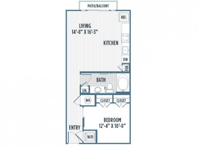 880-A1A Floor Plan | 1 Bedroom with 1 Bath | 649 Square Feet | 3800 Main | Apartment Homes