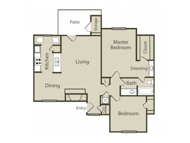 E1 Floor Plan | 2 Bedroom with 1 Bath | 996 Square Feet | Blue Swan | Apartment Homes