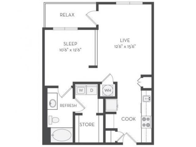 Image of the Whitney floorplan, an open concept 1 bedroom, 1 bathroom 726 sq. ft. apartment at Cottonwood Westside