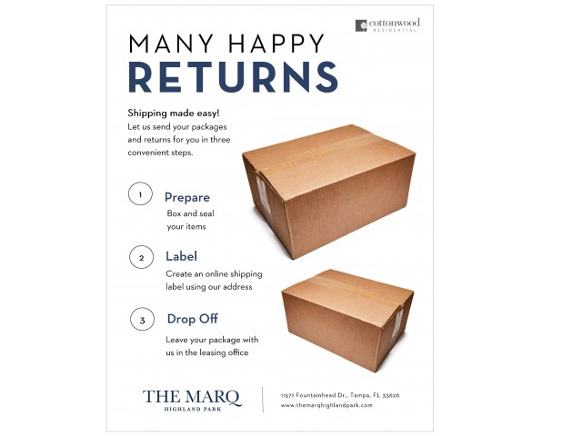 Enjoy Our Convenient Package Return Service, With Directions to Return Packages From Office at The Marq Highland Park Apartments