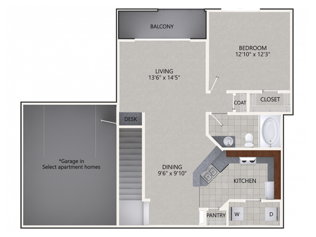 A4 Floor Plan | 1 Bedroom with 1 Bath | 1017 Square Feet | Cottonwood Ridgeview | Apartment Homes
