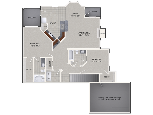 B4 Floor Plan | 2 Bedroom with 2 Bath | 1462 Square Feet | Cottonwood Ridgeview | Apartment Homes