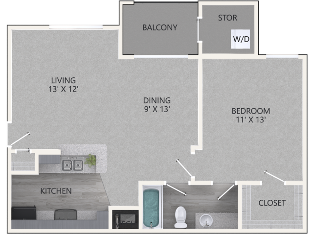 Ivy Floor Plan | 1 Bedroom with 1 Bath | 685 - 800 Square Feet | Waterford Creek | Apartment Homes