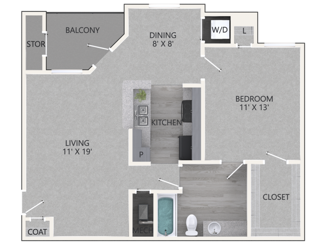 Renovated Willow Floor Plan | 1 Bedroom with 1 Bath | 787 Square Feet | Waterford Creek | Apartment Homes
