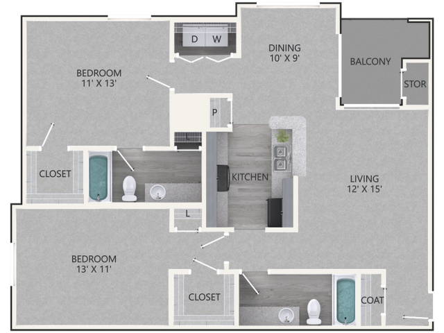 Redwood Floor Plan | 2 Bedroom with 2 Bath | 1047 Square Feet | Waterford Creek | Apartment Homes