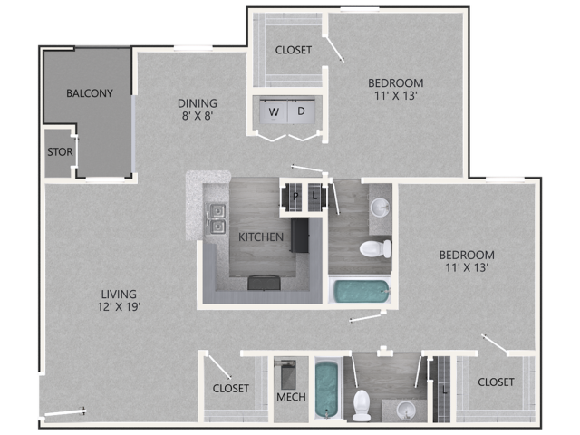 Renovated Bradford Floor Plan | 2 Bedroom with 2 Bath | 1137 Square Feet | Waterford Creek | Apartment Homes