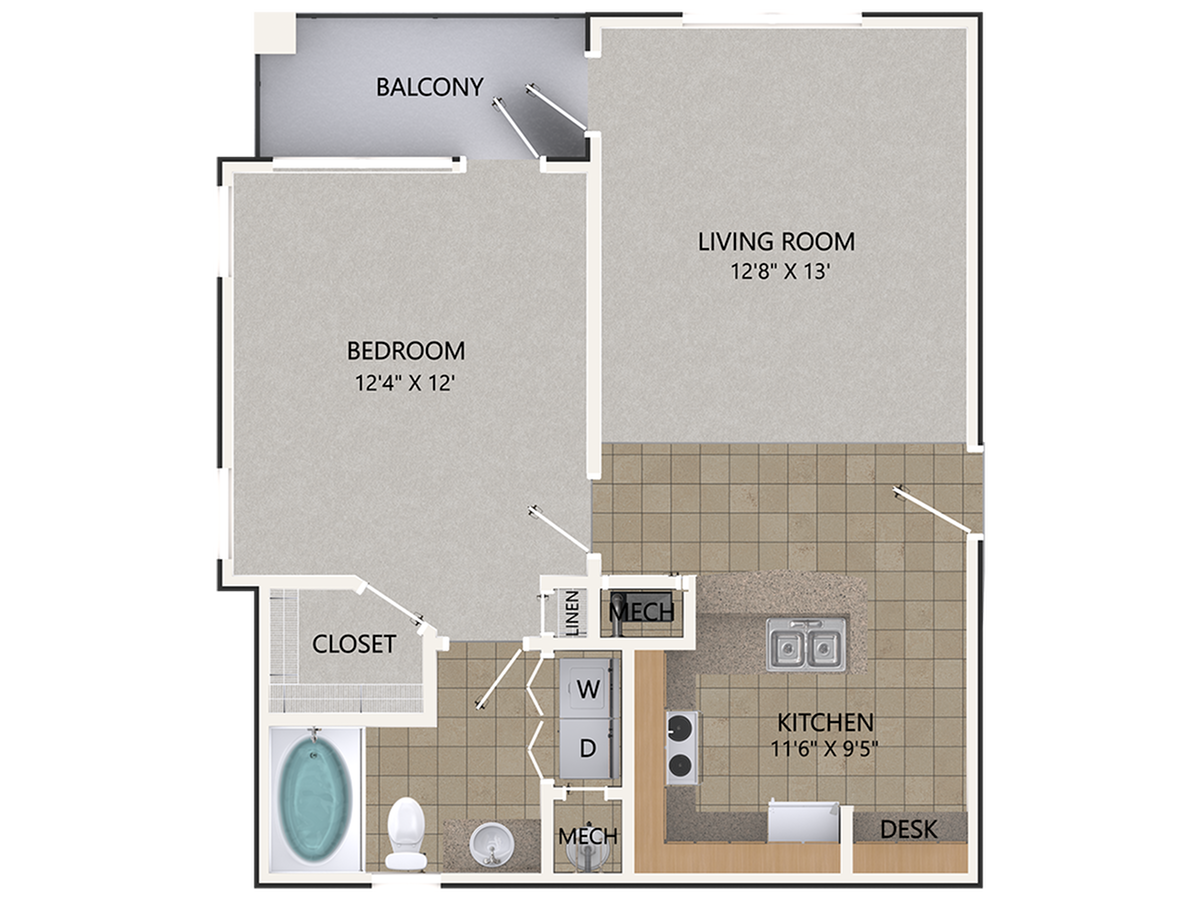 Scarlet Oak Floor Plan | 1 Bedroom with 1 Bath | 756 Square Feet | Cottonwood Reserve | Apartment Homes
