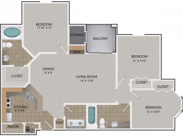 Willow Oak Floor Plan | 3 Bedroom with 2 Bath | 1294 Square Feet | Cottonwood Reserve | Apartment Homes