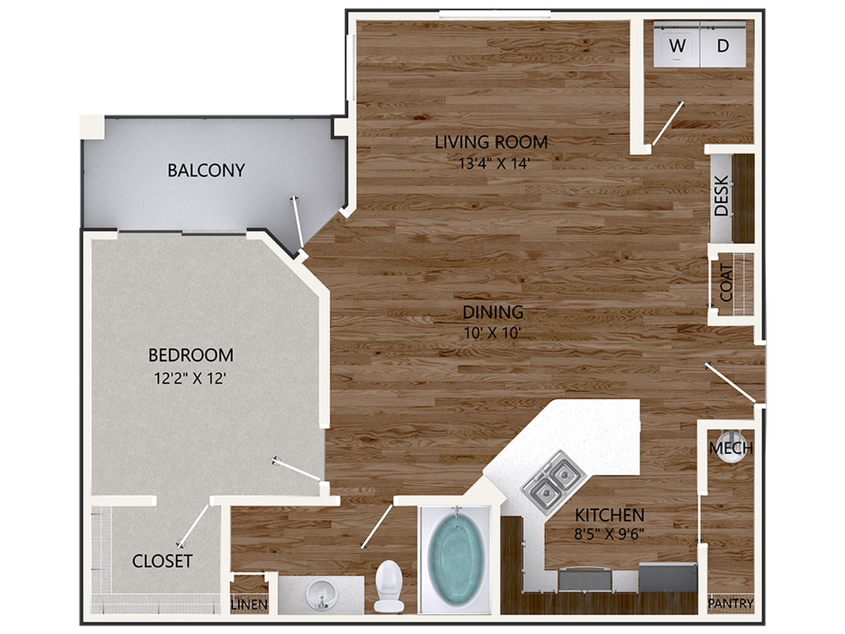 New Persimmon Oak Floor Plan | 1 Bedroom with 1 Bath | 915 Square Feet | Cottonwood Reserve | Apartment Homes