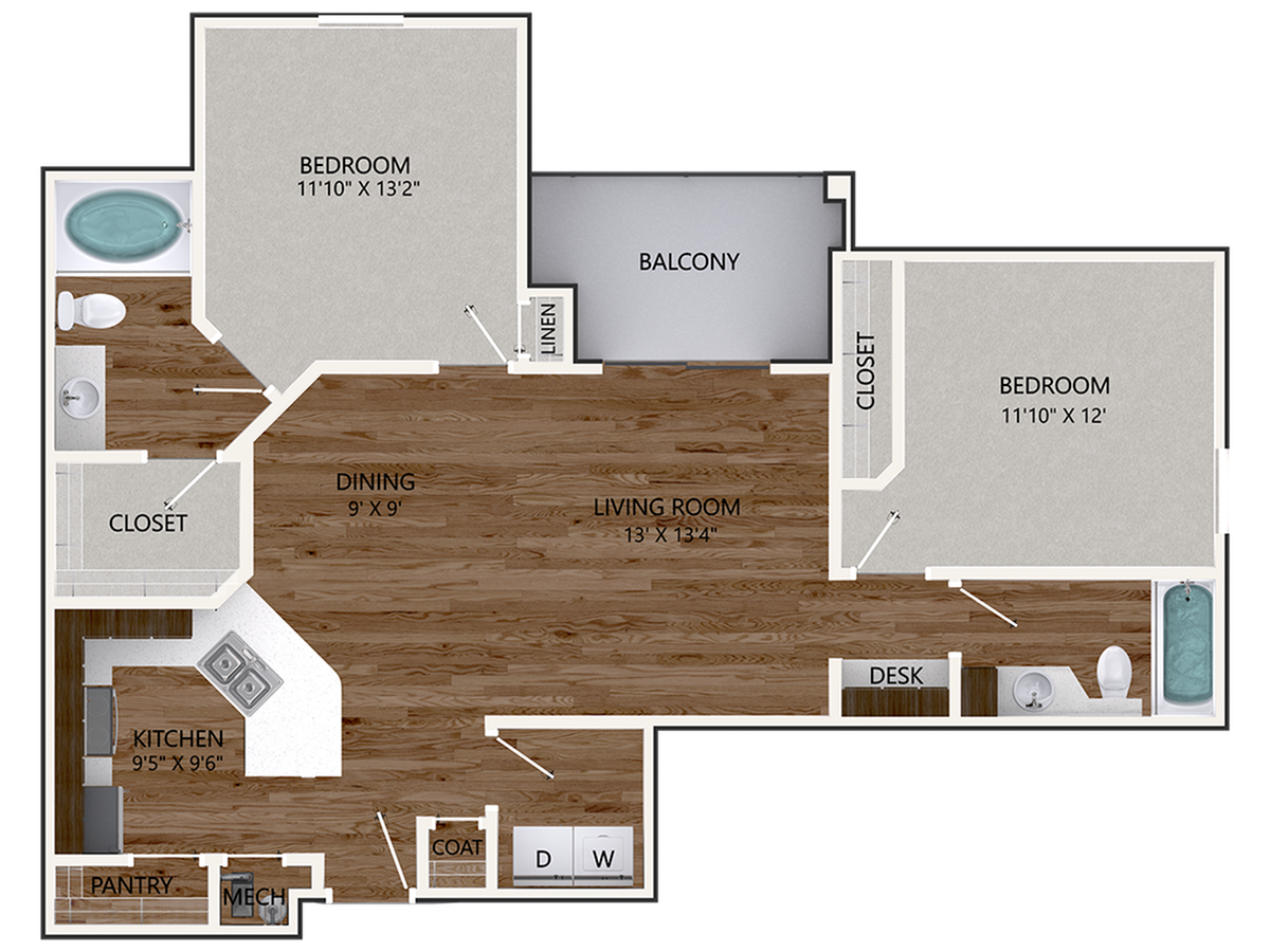 New Chinquapin Oak Building Floor Plan | 2 Bedroom with 2 Bath | 1139 Square Feet | Cottonwood Reserve | Apartment Homes